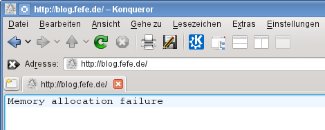 """Memory allocation failure"" auf blog.fefe.de"